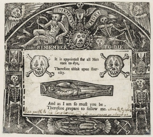 """Memento Mori Remember to Die,"" 1640, Woodcut.  Image Credit: Folger Shakespeare Library, Washington DC."