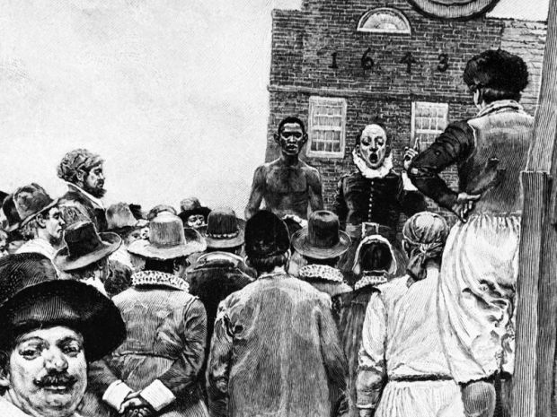 Illustration of the New York slave market. (Corbis)